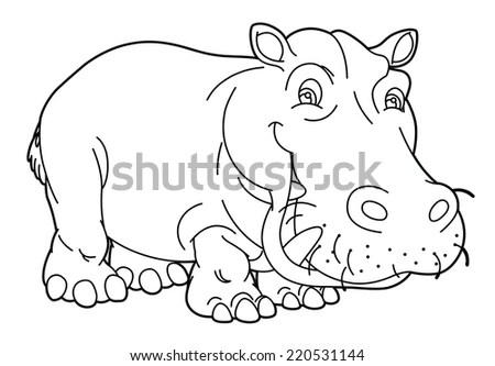 Cartoon Outline Vector Illustration Tiger Roaring Stock