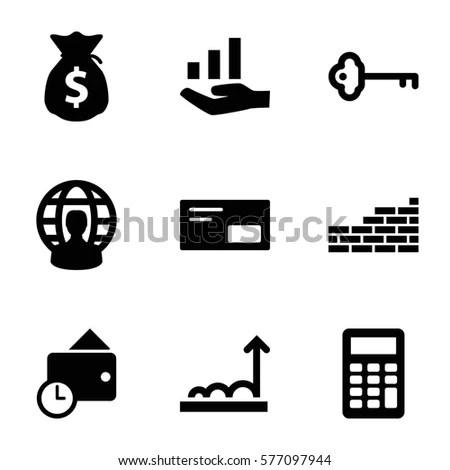 Vector Black Finance Icons Set On Stock Vector 155650691