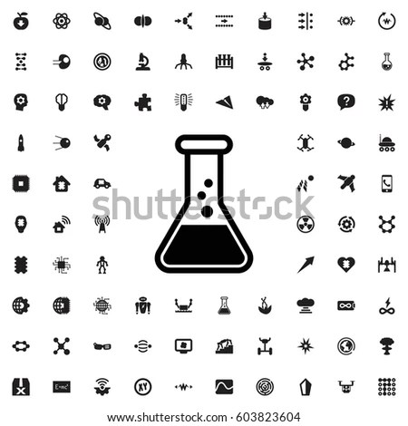 Chemistry Simple Vector Icon Set Bottles Stock Vector
