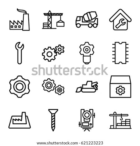 Engineering Icons Set Set 16 Engineering Stock Vector