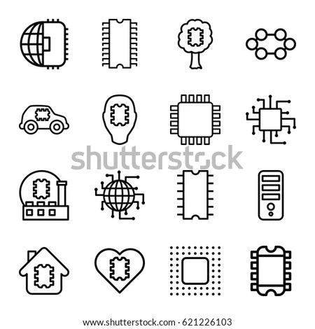 Processor Icons Set Set 16 Processor Stock Vector