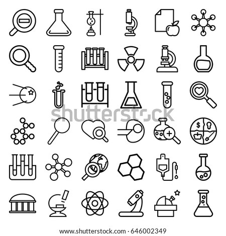Research Icons Set Set 36 Research Stock Vector (Royalty