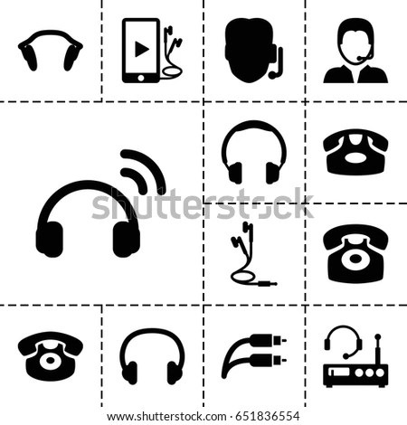Basic Set Loudspeakers Earphones Pc Speakers 스톡 벡터