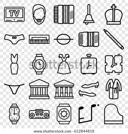 Set Thin Line Icons Apparel Clothing Stock Vector
