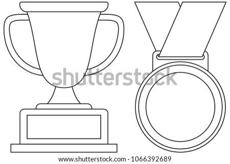 Line Art Black White Winner Cup Stock Illustration