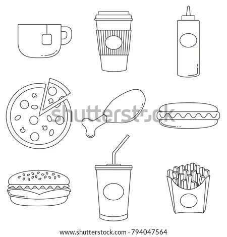 Coloring Book Pages Food Stock Images, Royalty-Free Images