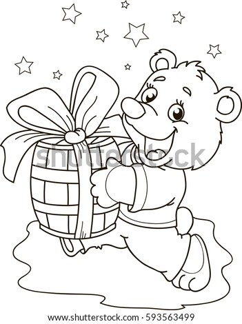 Coloring Page Outline Cartoon Little Bear Stock Vector