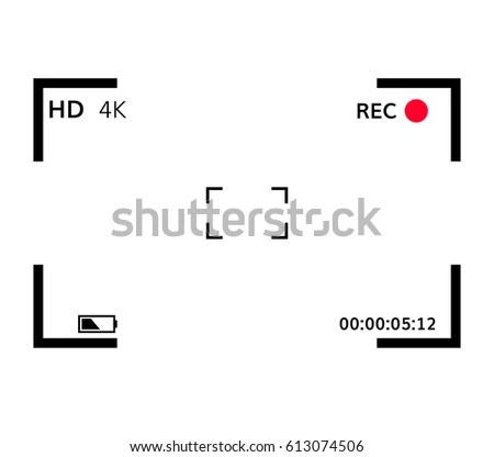 Camera View Finder Focusing Screen Recording Stock Vector