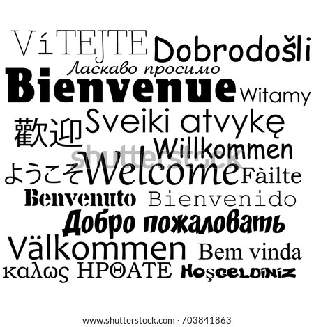 Composition Welcome Messages Many Different Written Stock