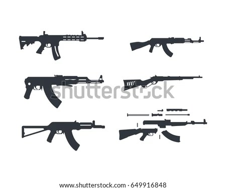 Assault Rifle Flat Illustration Stock Vector 448639648