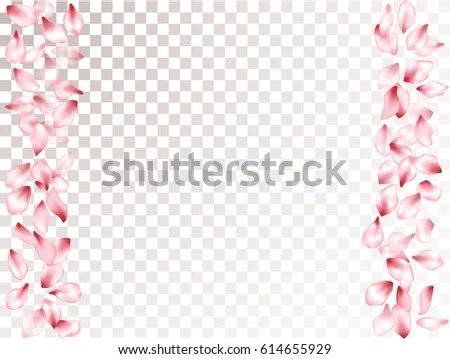 Falling Pink Flower Petal Confetti Vector Stock Vector