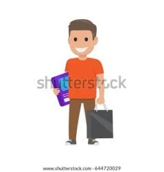 boy shopping bag cartoon box smiles stands vector shutterstock fun clothes
