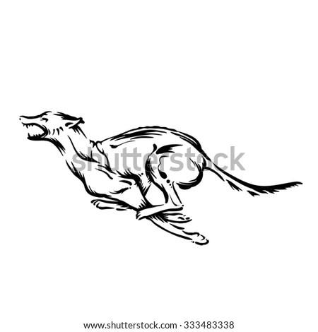 Running Cheerful Dog Male Breed German Stock Vector