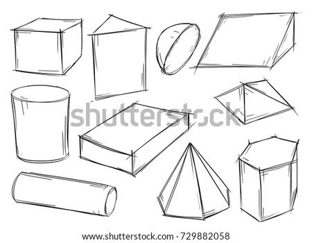 Line Icons Geometric Shapes Sphere Cylinder Stock Vector