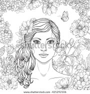 hand drawn girl flowers butterfly
