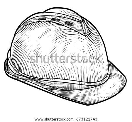 Safety Helmet Illustration Drawing Engraving Ink Stock