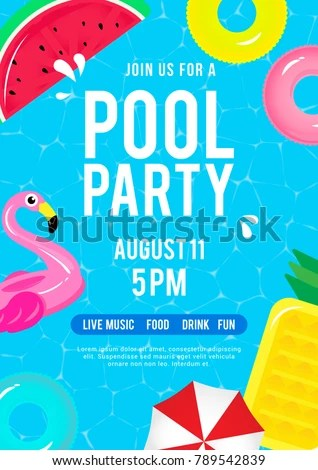 Pool Party Invitation Vector Illustration Top Stock Vector