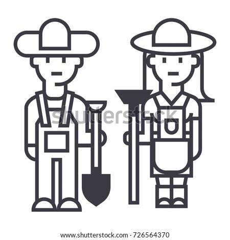 Vector Black Farmer Icon On White Stock Vector 389112367