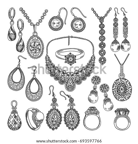 Golden Silver Jewelry Different Diamonds Crystals Stock