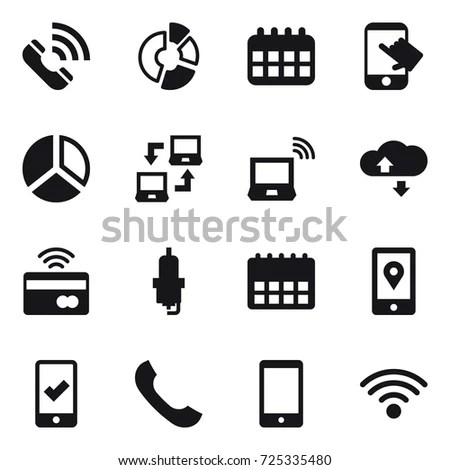 Vector Phone Communication Mini Icons Set 스톡 벡터 187235927