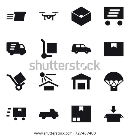 Logistic Icons White Icons On Black Stock Vector 448528639