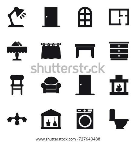 Home Decoration Furniture Thin Line Icon Stock Vector