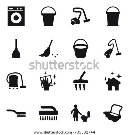 Set Housekeeping Icons Cheerful Maid Showing Stock Vector