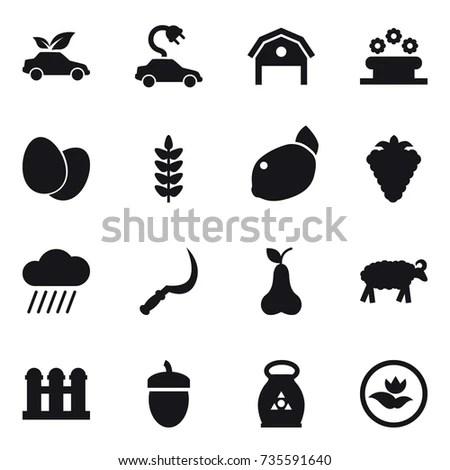 Set Farm Icons Farm Animals Food Stock Vector 150622706