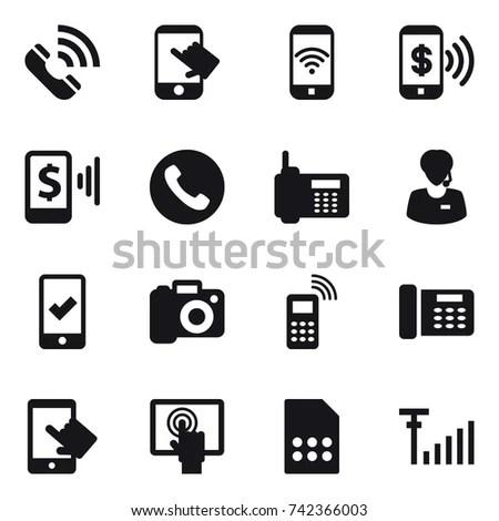 16 Vector Icon Set Call Touch Stock Vector 742366003