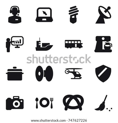 16 Vector Icon Set Call Center Stock Vector 747627226