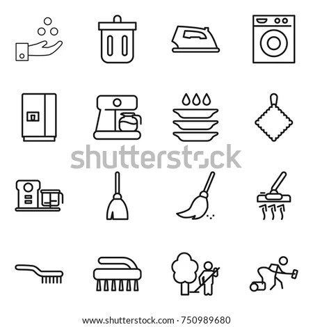 Home Stuff Outline Icon Set 15 Stock Vector 374858767