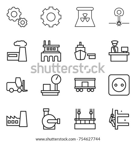 Industrial Machines Vector Line Icons Factory Stock Vector