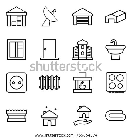 Real Estate Thin Line Icons Vector Stock Vector 307096685