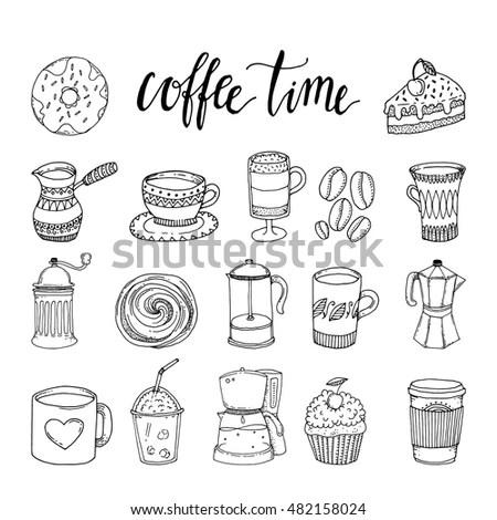 Decorative Hand Drawn Icons Breakfast Foods Wektor