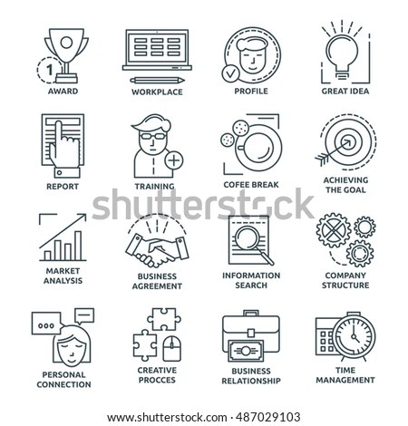 Coworking Monochrome Linear Icons Company Structure Stock