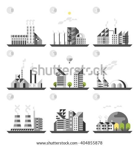 Oil Platform Sea Background Industry Factory Stock Vector
