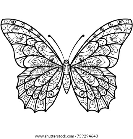 Mandala Design Butterfly Drawing Coloring Book Stock