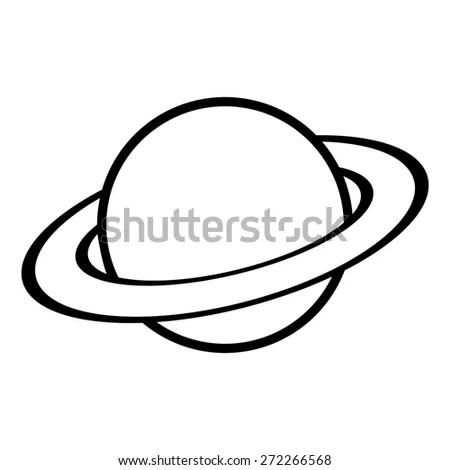 Planet Saturn Planetary Ring System Flat Stock Vector