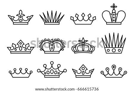 Crown Set Vector Line Art Jewelry Image vectorielle de