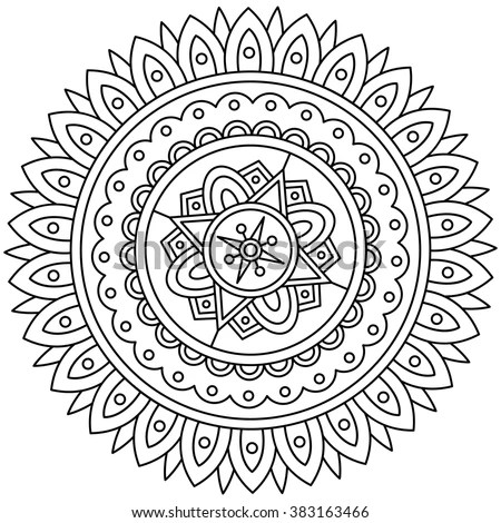Mandala Black White Round Ornament Vector Stock Vector