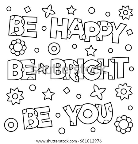 Inspirational Coloring Page Black White Vector Stock