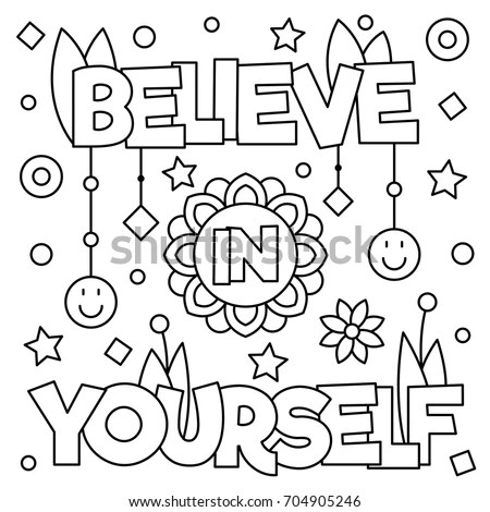 Believe Yourself Coloring Page Vector Illustration Stock