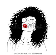 handdrawn black woman curly luxurious