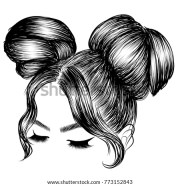 messy hair bun stock royalty-free