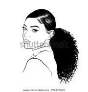 handdrawn black woman curly ponytail