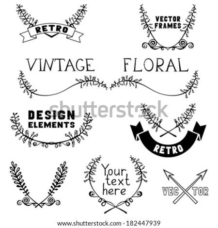 Set Vintage Page Decorations Floral Elements Stock Vector