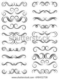 Calligraphic Black Elegant Swirls Collection Set Stock ...