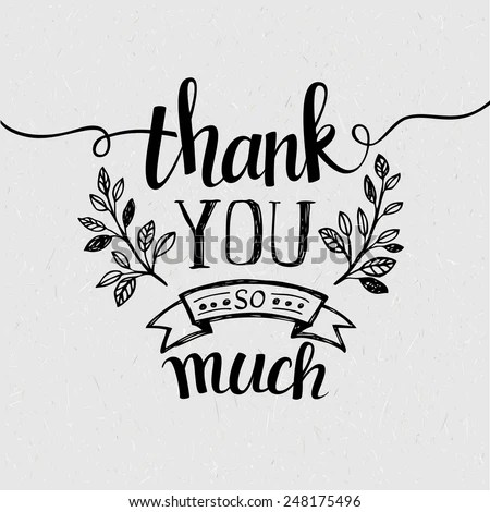 Lettering Thank You Vector Illustration Stock Vector