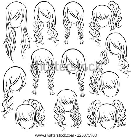 Set Teenage Girl Hairstyles Hand Drawing Stock Vector