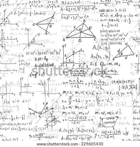 Mathematics Equations Formulas On White Background Stock